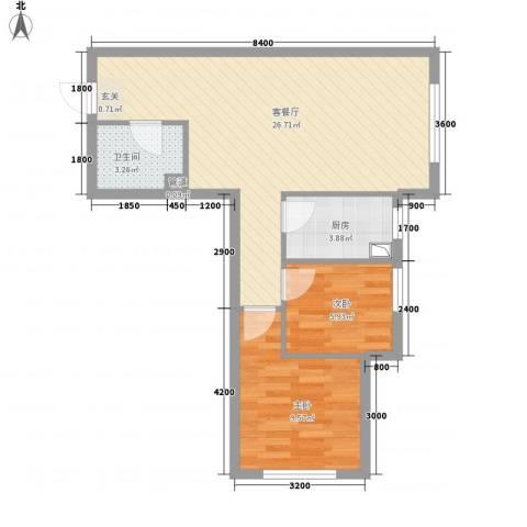 辽阳凯旋门广场2室1厅1卫1厨72.00㎡户型图