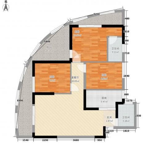 湖畔新城3室1厅2卫1厨53114.00㎡户型图