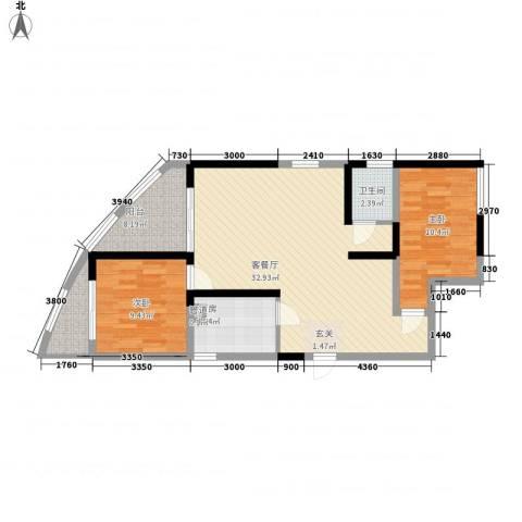 湖畔新城2室1厅1卫1厨6288.00㎡户型图