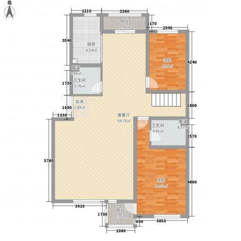 君临天下2室1厅2卫1厨154.00㎡户型图