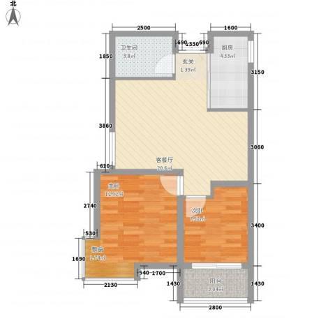 锦华广场2室1厅1卫1厨75.00㎡户型图