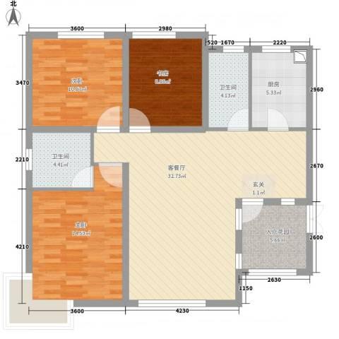君临天下3室1厅2卫1厨123.00㎡户型图