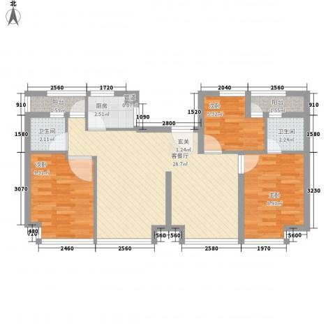 五米阳光3室1厅2卫1厨88.00㎡户型图