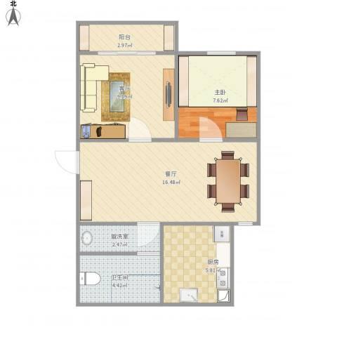 周洼新村1室3厅1卫1厨67.00㎡户型图