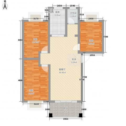 君尚一品・水云间3室1厅1卫1厨112.00㎡户型图