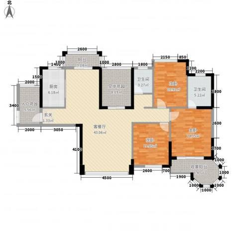 东信华府3室1厅2卫1厨23137.00㎡户型图