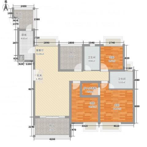 名流印象花园3室1厅2卫1厨143.00㎡户型图