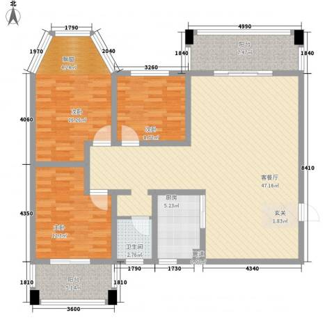 君尚一品・水云间3室1厅1卫1厨150.00㎡户型图