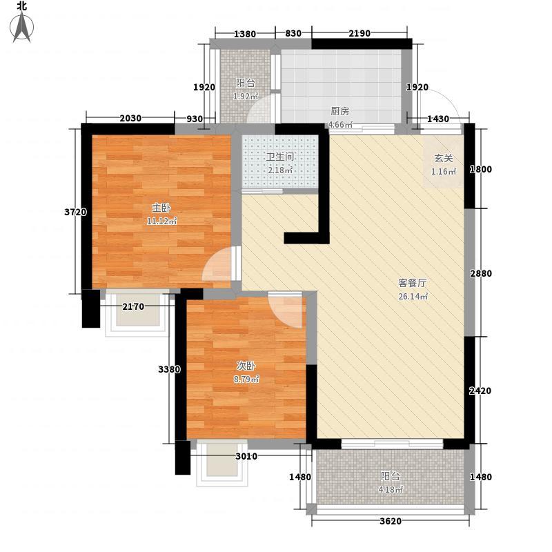 中铁涪江新园81.00㎡I户型2室2厅1卫1厨