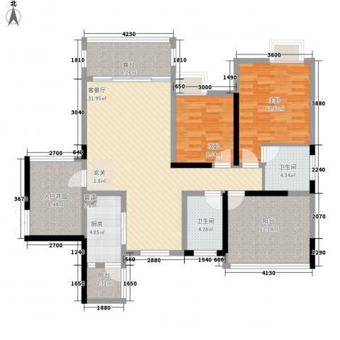 保利星座2室1厅2卫1厨110.00㎡户型图