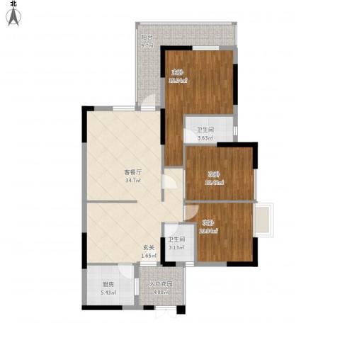 汇星名庭3室1厅2卫1厨136.00㎡户型图