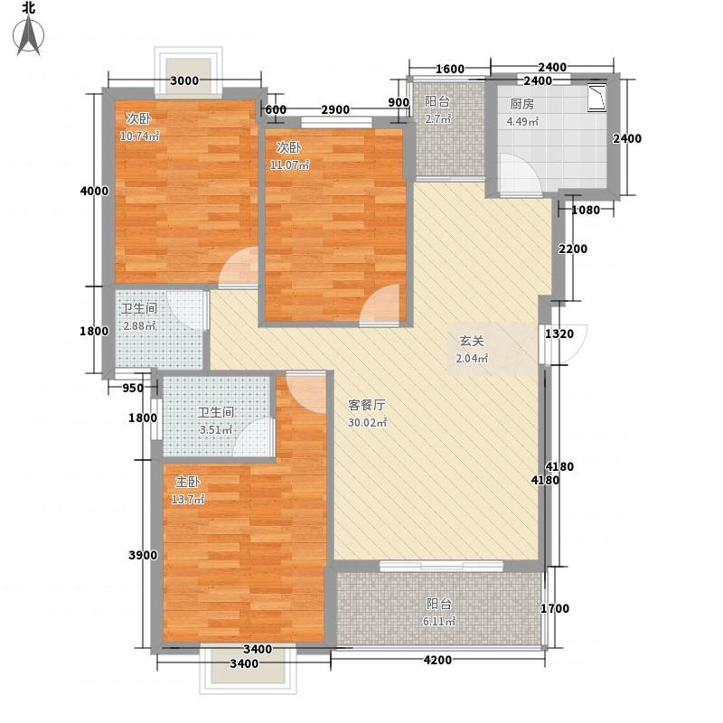长湖峰境17.00㎡3栋A2户型3室2厅2卫1厨