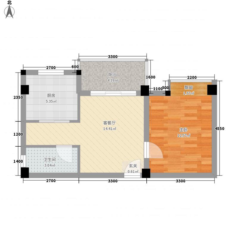 星豪湾45.00㎡时代商业广场三四座01户型1室1厅