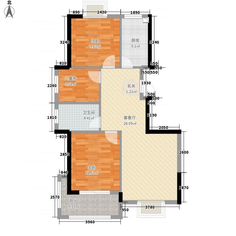 馨领域5.72㎡C1户型3室2厅1卫1厨