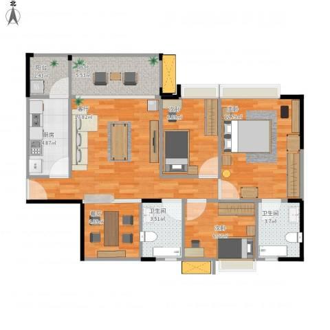 碧桂园山河城3室2厅2卫1厨92.00㎡户型图
