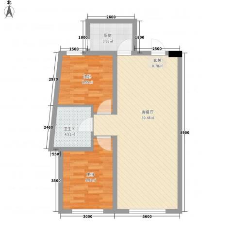 辽阳凯旋门广场2室1厅1卫1厨81.00㎡户型图