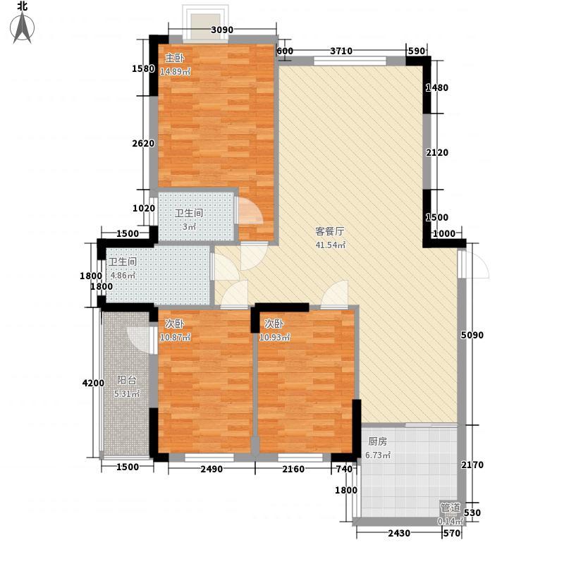 中天大厦126.20㎡B栋1户型3室2厅2卫1厨