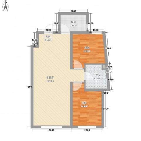 辽阳凯旋门广场2室1厅1卫1厨80.00㎡户型图