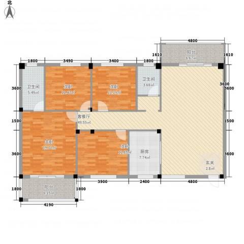 书苑小区4室1厅2卫1厨158.00㎡户型图