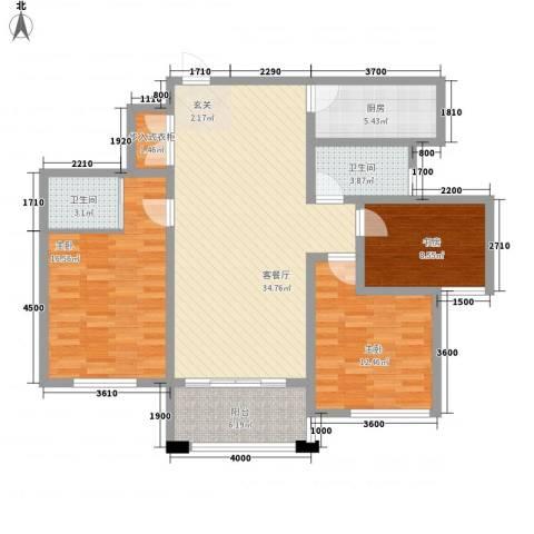 春江明月3室1厅2卫1厨133.00㎡户型图