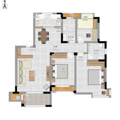 丽景华庭3室1厅2卫1厨125.00㎡户型图