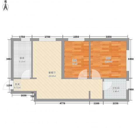 辽阳凯旋门广场2室1厅1卫1厨67.00㎡户型图