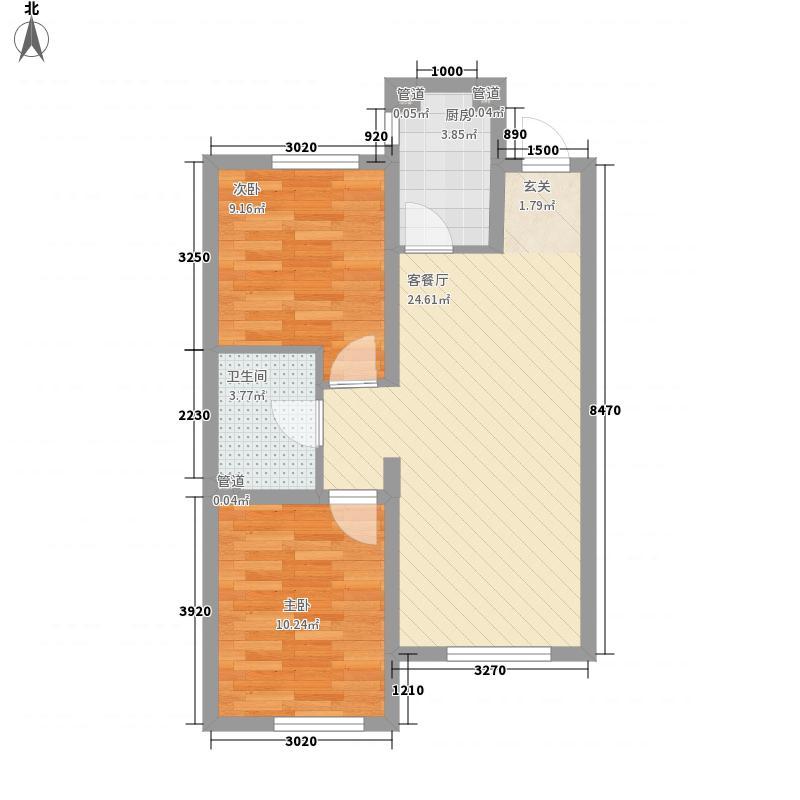 源隆・清华园7.31㎡单页G6净尺寸(180X285mm)户型2室2厅1卫1厨