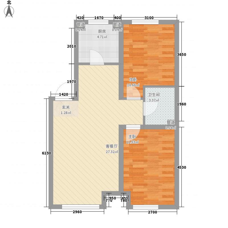 源隆・清华园85.00㎡单页G3净尺寸(180X285mm)户型2室2厅1卫1厨