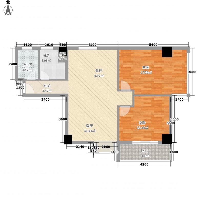 水岸观邸7.44㎡一单元0、二单元1户型2室2厅1卫1厨
