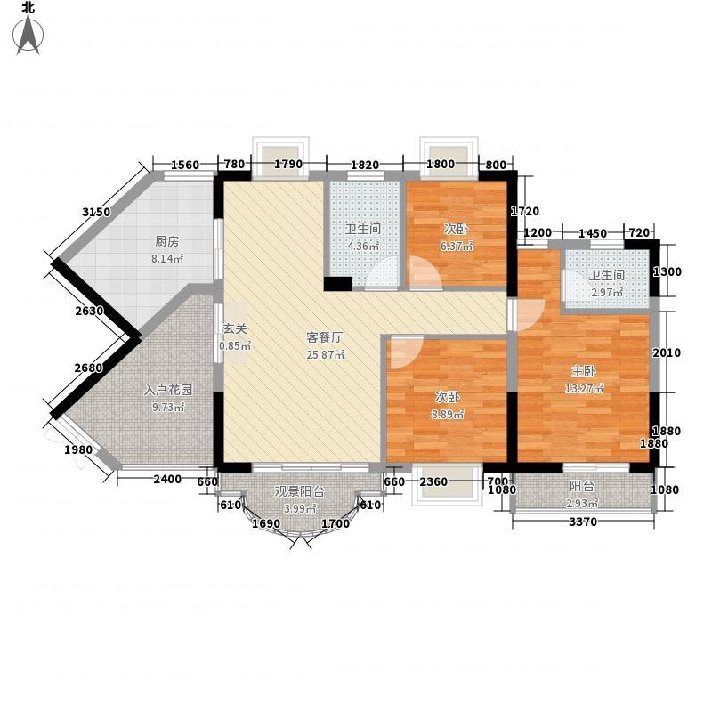 万昌南湖景园123.60㎡名月居(04号房)户型3室2厅2卫1厨