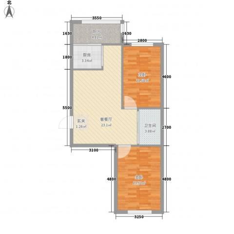 扬州城2室1厅1卫1厨85.00㎡户型图