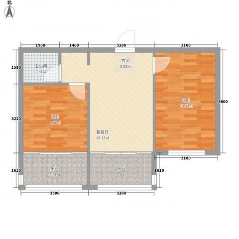 扬州城2室1厅1卫0厨50.28㎡户型图