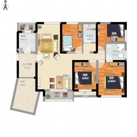 融科九重锦4室1厅2卫1厨143.00㎡户型图