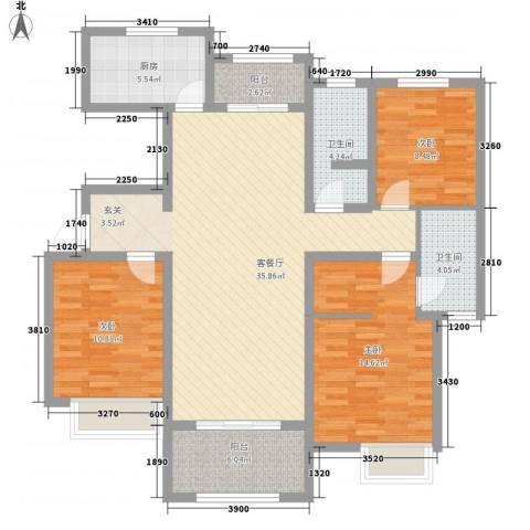 天明城3室1厅2卫1厨134.00㎡户型图