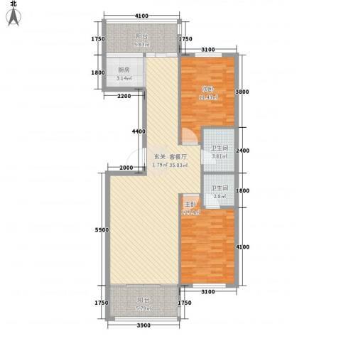 扬州城2室1厅2卫1厨79.96㎡户型图