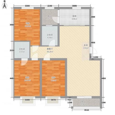 领世郡3室1厅2卫1厨124.00㎡户型图