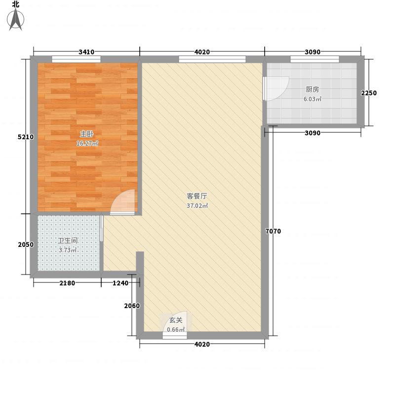 佳雨中城86.50㎡标准层F户型1室2厅1卫1厨