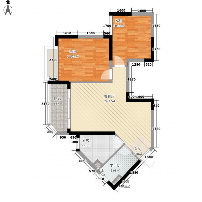 恒大城1581.20㎡1号楼05户型2室2厅1卫1厨