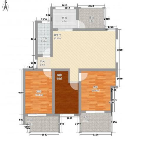春江花园3室1厅1卫1厨92.08㎡户型图