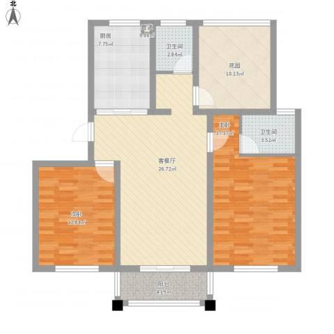 华夏名都2室1厅2卫1厨122.00㎡户型图
