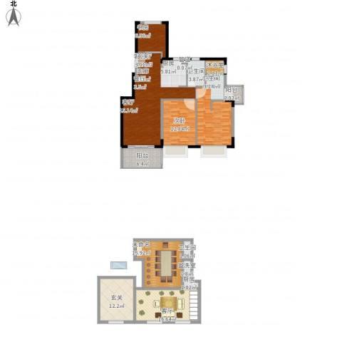 三亚・山水国际3室3厅2卫1厨191.00㎡户型图