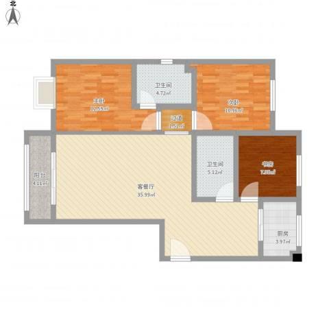 汇通新城3室1厅2卫1厨126.00㎡户型图