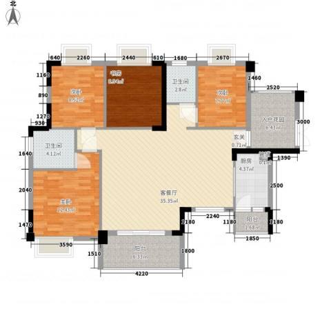 时代花园4室1厅2卫1厨98.85㎡户型图