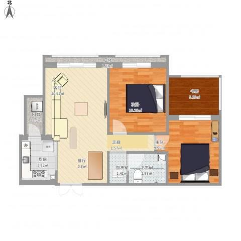 领峰3室2厅1卫1厨82.00㎡户型图