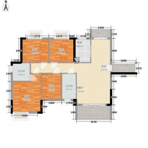 时代花园4室1厅2卫1厨96.01㎡户型图