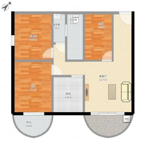 福津大街3室2厅1卫1厨85.00㎡户型图
