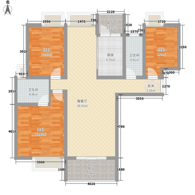金苑如意广场133.54㎡A1户型3室2厅2卫1厨