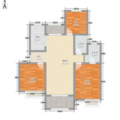天明城3室1厅2卫1厨132.00㎡户型图