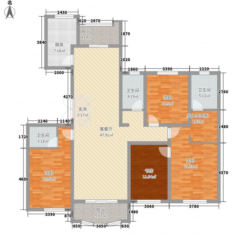 翡翠城16.00㎡户型4室2厅3卫1厨