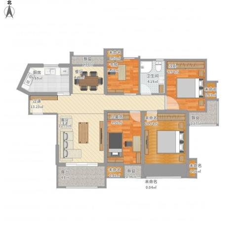 达安上品花园3室2厅1卫1厨126.00㎡户型图